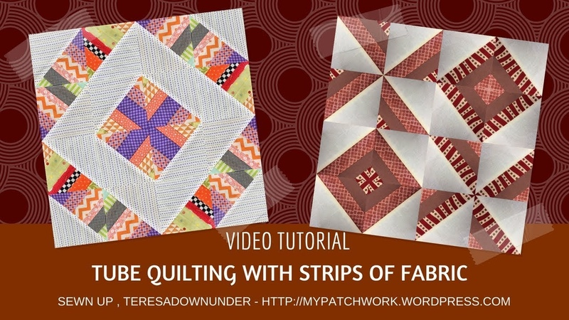 Two blocks using tube quilting with fabric strips video tutorial