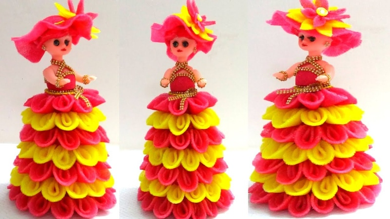How to Decortive a Doll Using Foam Sheet/Doll Decorations/DIY Bridal Doll Decorate/Indian Style