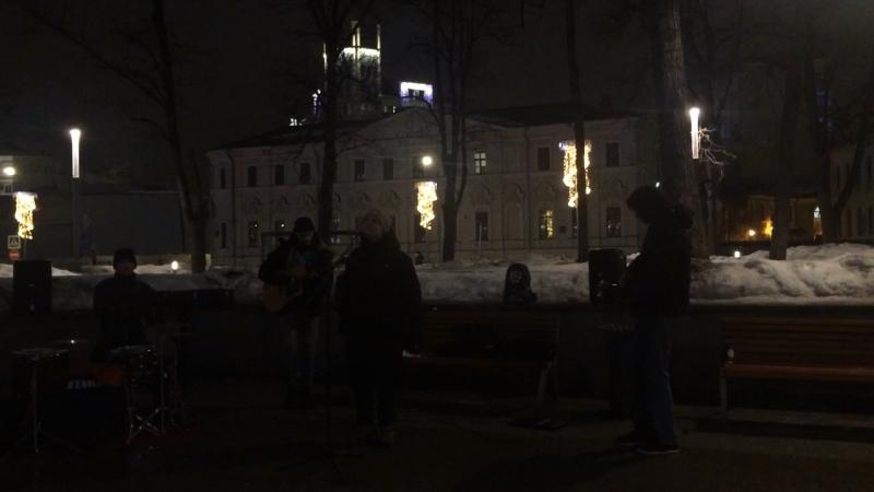 Уличное творчество талантов Москвы около Арбата