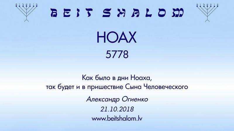 «НОАХ» 5778 «Как было в дни Ноаха, так будет и в пришествие...» А.Огиенко (21.10.2018)