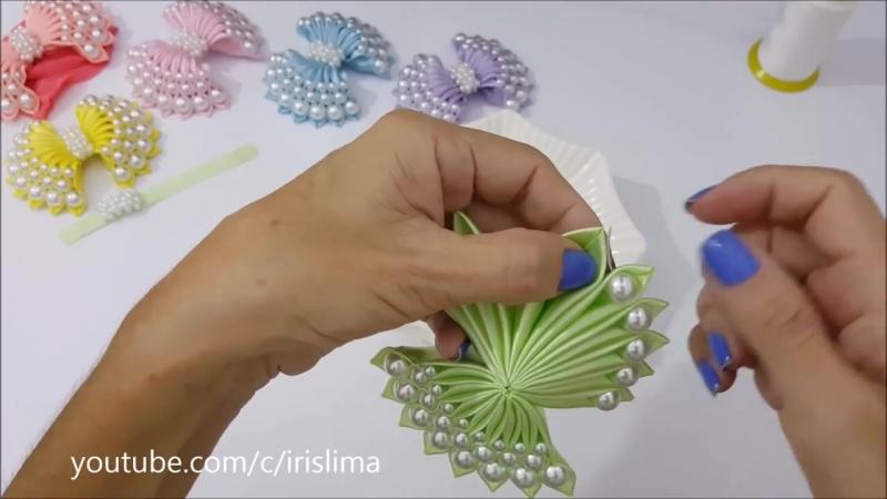 Laço de Cetim Com Pérolas 🎀 Laço Pérola de Luxo 🎀 DIY 🎀 PAP 🎀 TUTORIAL 🎀 Iris Lima