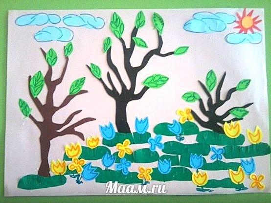 Коллективная аппликация Первые весенние цветы . Работа ребят детского сада 31 г.Краснодара, воспитат… (1 фото) - картинка