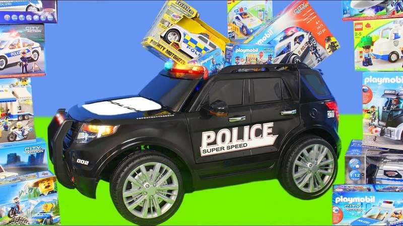Police Cars: Ride on Toy Vehicles w/ Lego Construction Toys, Trucks Car Surprise for Kids