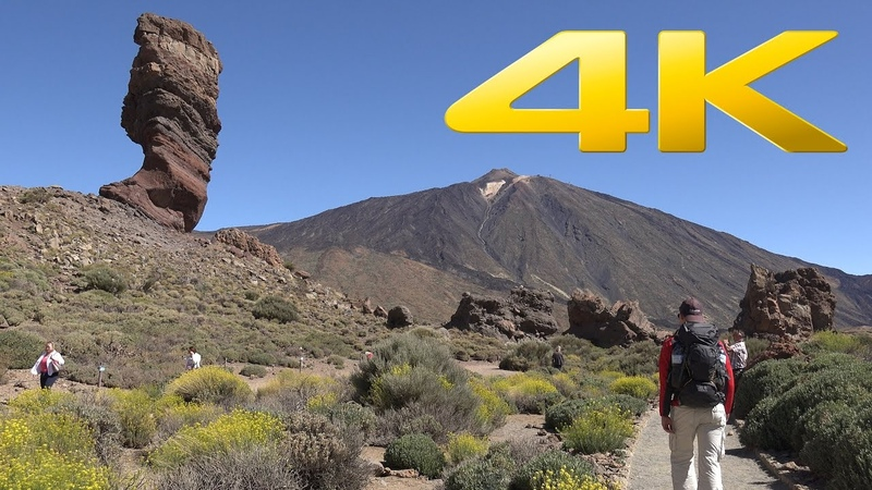 4K Climbing 3718 m Active Volcano Mount Teide on Tenerife