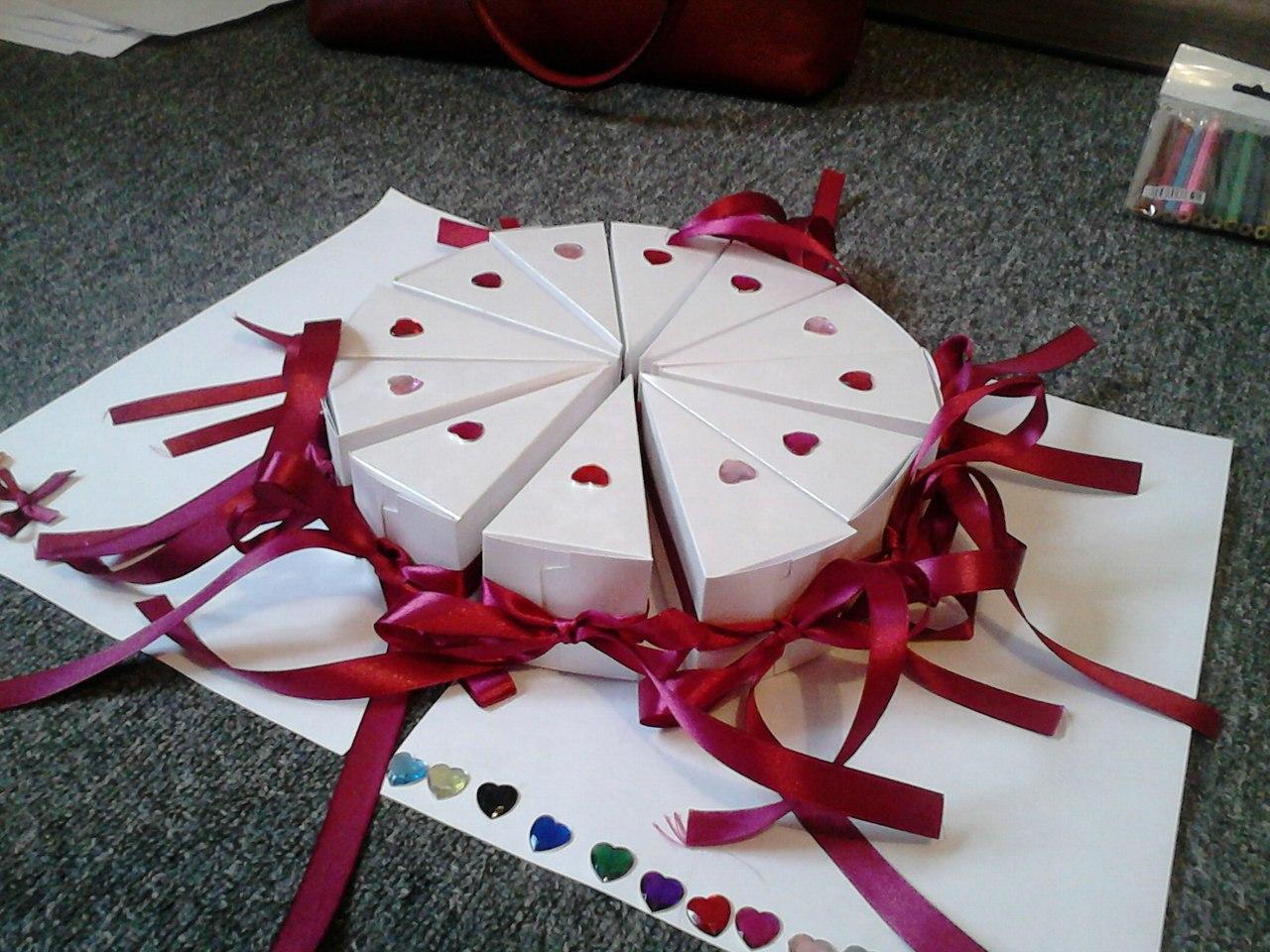 Как сделать картонный кусочек торта