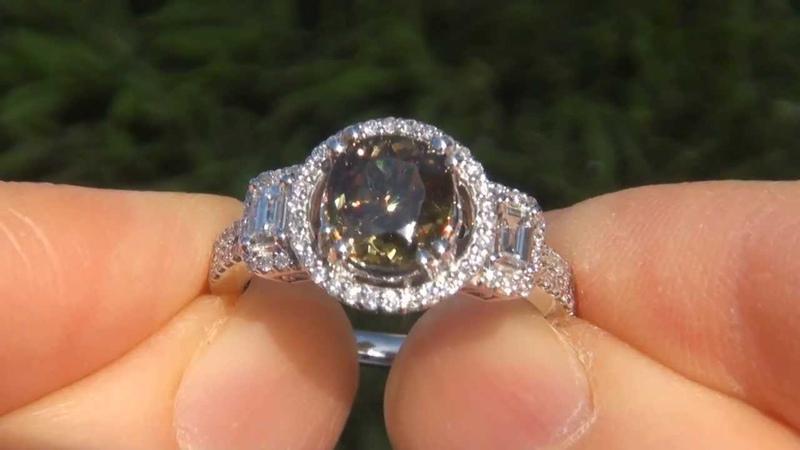 Estate 3.46 ct VVS Natural Demantoid Garnet Diamond 14k White Gold Vintage Ring - A133173