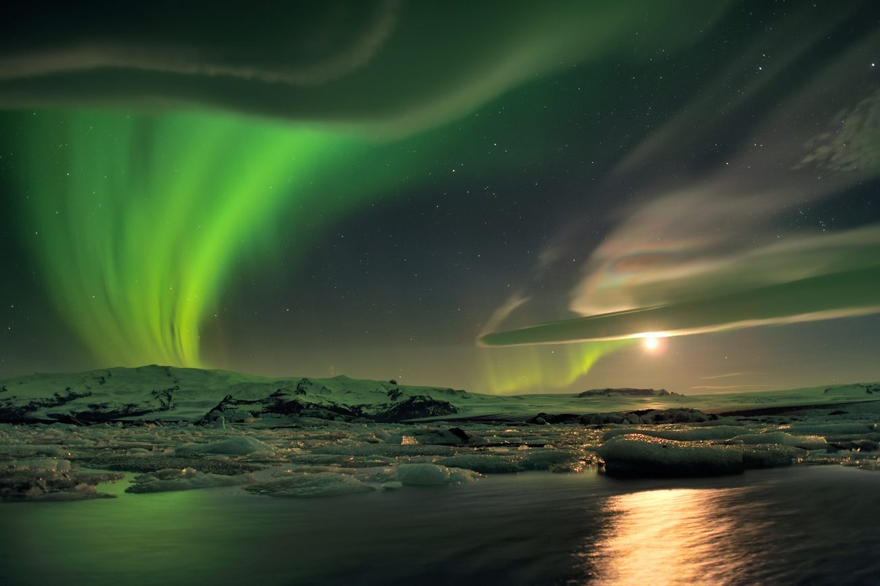 Northern Lights and unusual clouds, Iceland