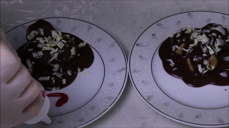 Турецкие яблочные шарики с печеньем, грецкими орехами, шоколадным соусом Elmalı 🍎 Profiterol Basit ve Kolay Bir Tatlı Harika Lezzetler