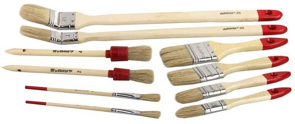 """Набор Кисти """"UNIVERSAL-STANDARD"""", светлая натур. щетина, деревян. ручки., плоские, круглые и радиаторные, 10шт   STAYER"""