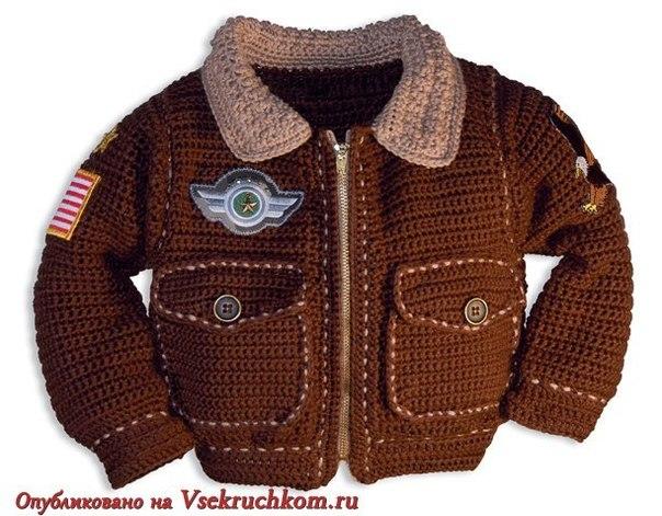 Стильная курточка Пилот для мальчика вязаная крючком. Модель не сложная, вяжется обычным столбиком с… (5 фото) - картинка
