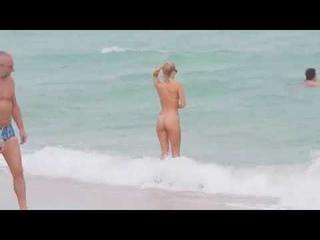 Selena Weber At Beach In A Nude Colored Bikini