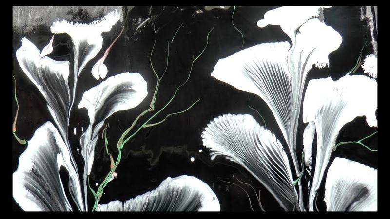 Заливка Акрилом Рисуем цветы Веревочкой и Цепью Painting the flowers with chain and string