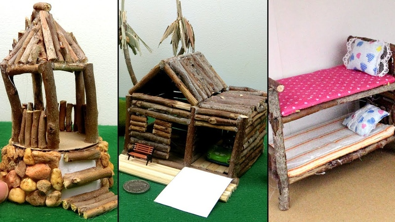 3 Easy Wooden Crafts from Tree Branch | Miniature Hut Bunk Bed | Best out of Waste