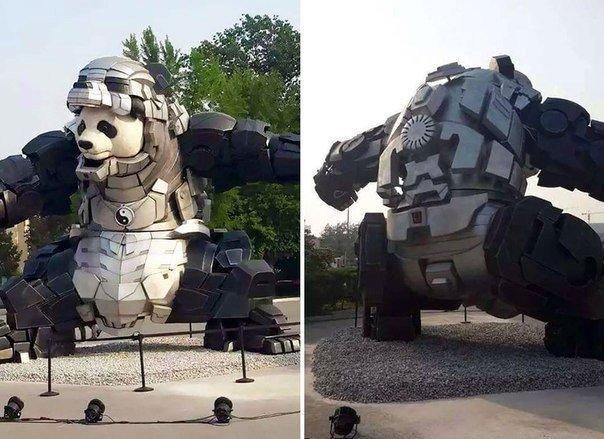 Гигантская статуя панды в железной броне оберегает Китай