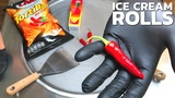 Ice Cream Rolls - red Hot Chili EXTREME spicey with Tabasco and Tortillas by Chio Challenge ASMR