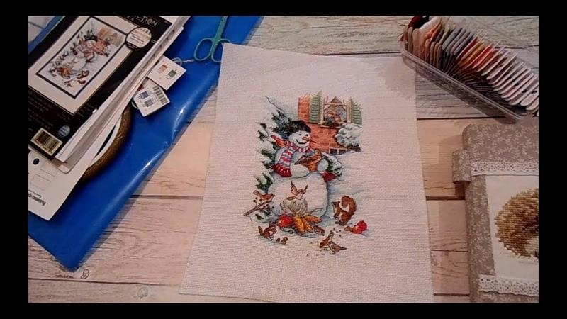 Snowman Friends (Снеговик и друзья, а.08801) от Dimensions - завершение. Вышивка крестиком