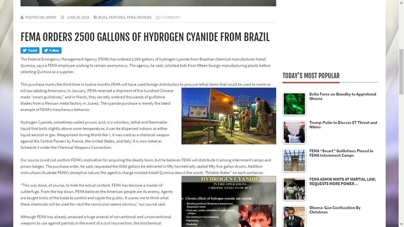 FEMA ORDERS 2500 GALLONS OF HYDROGEN CYANIDE FROM BRAZIL