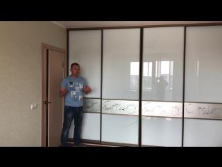 Встроенный шкаф купе вдоль стены в гостиной