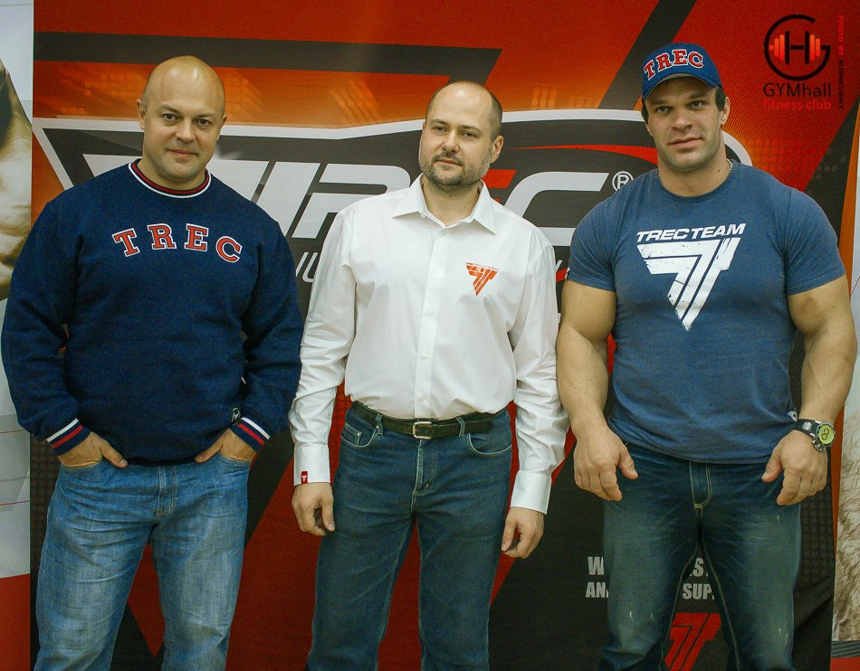 Vladimir Kravtsov, Trec Nutrition representative, Denis Cyplenkov - Armwrestling Seminar 20, 21 October 2014 │ Photo Source: GYMhall fitness club