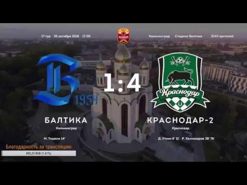 Балтика - Краснодар 2 1:4 Обзор матча Чемпионата ФНЛ 2018/2019. 17-й тур.