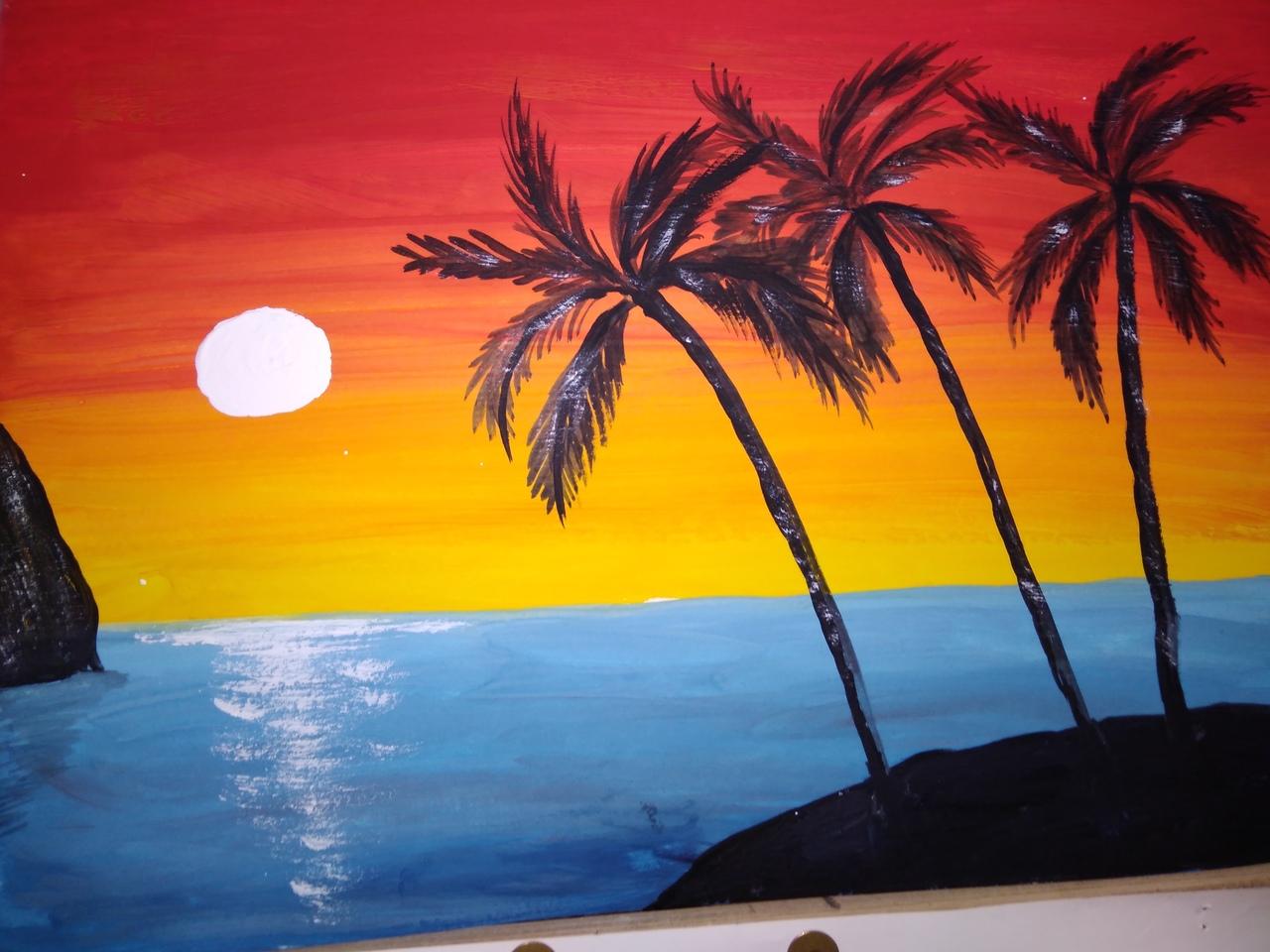 эти рисунок море солнце пляж простой вот, теперь