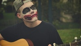 the girl by city and colour at the park in joker makeup and then messing up and being sad about it