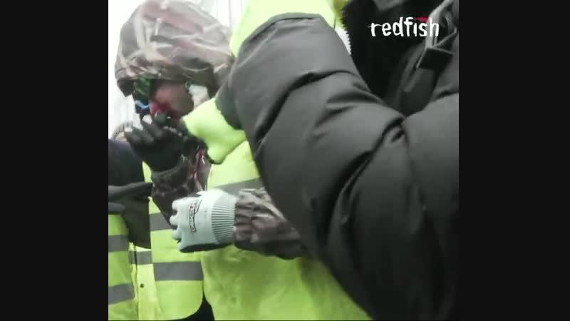Момент когда протестующий в желтом жилете получает выстрел прямо в лицо резиновой пулей