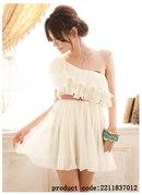 Нежное кремовое платье из плиссированной ткани - Интернет магазин Chinzo