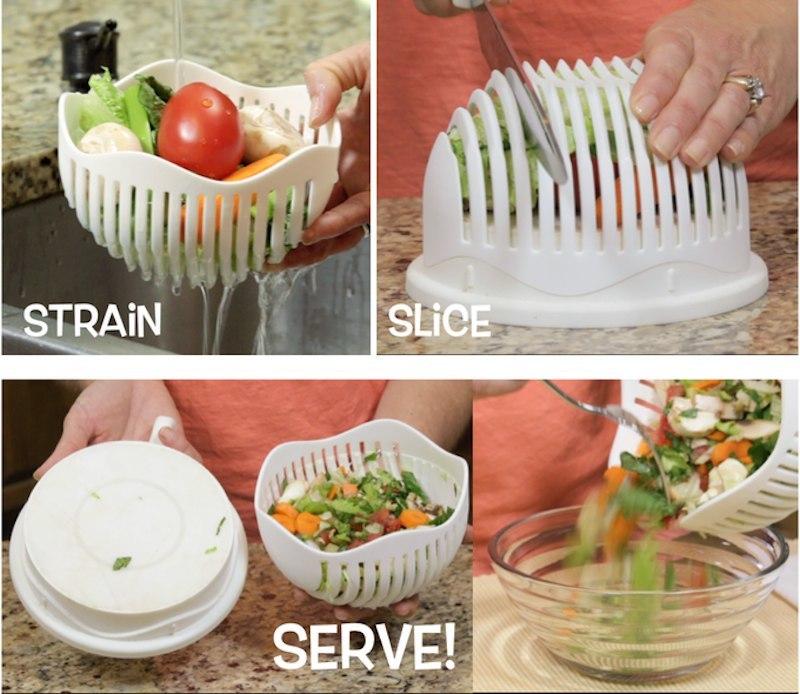 Удобное приспособление для быстрого приготовления овощных салатов