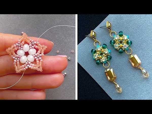 STUNNING EARRINGS MADE FROM BEADS AND CRYSTALS