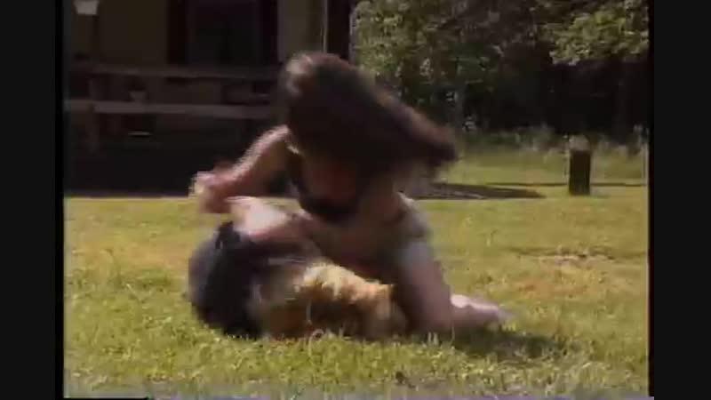 Outdoor catfight between wife and ex girlfriend
