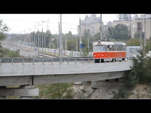 Киев.Скоростной трамвай 4 (вид с кабины водителя)/Kiev. High-speed tram 4,view from the driver's cab