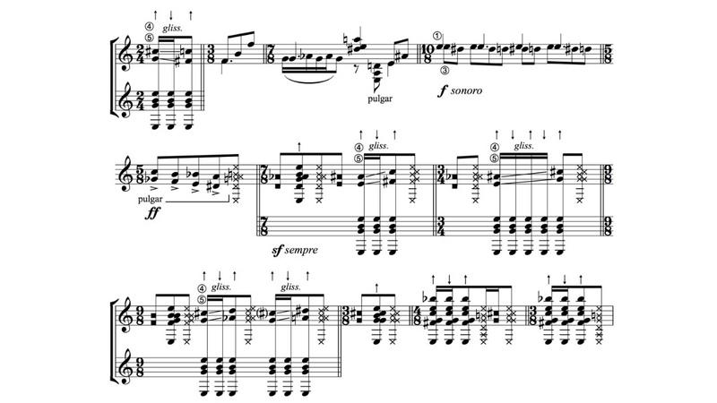 Hebert Vázquez: Metamorfosis for Guitar (Score video)