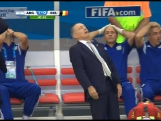 Argentina coach Alejandro Sabella nearly falling over after Gonzalo Higuain hit the bar!