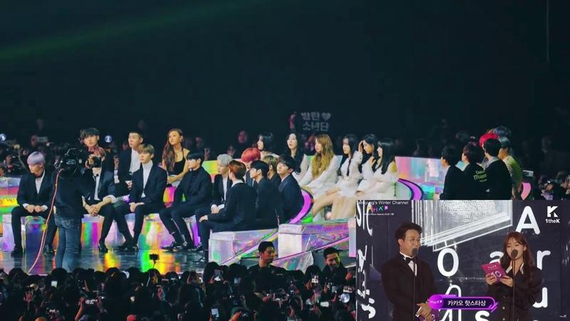 181201 BTS MMA 2018 - Idols (wanna one , gfriend , loco, hwasa) reaction to BTS Kakao Hot Star