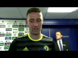Gary Cahill reacts to our 3-0 away win to Everton