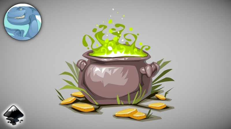 Magic pot with coins. Vector graphics with Inkscape.