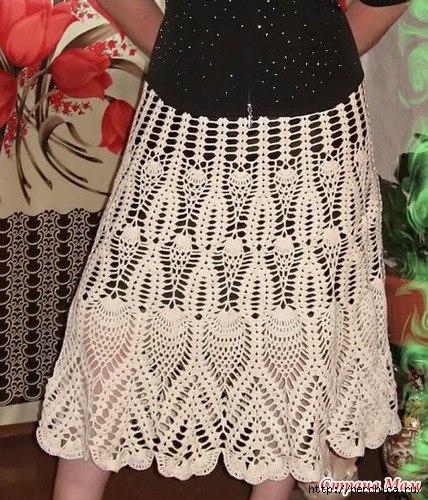 Бесподобно красивая юбка крючком по схеме веера… (3 фото) - картинка