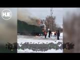 В Уфе рабочие потушили горящий электровоз снегом
