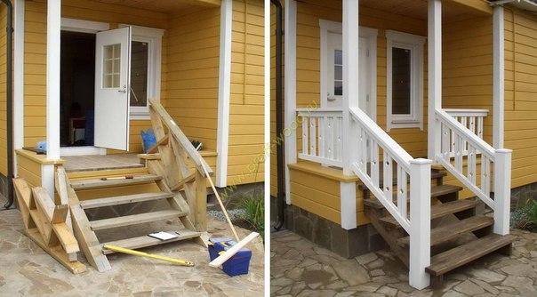 Как сделать лестницу на крыльцо из дерева