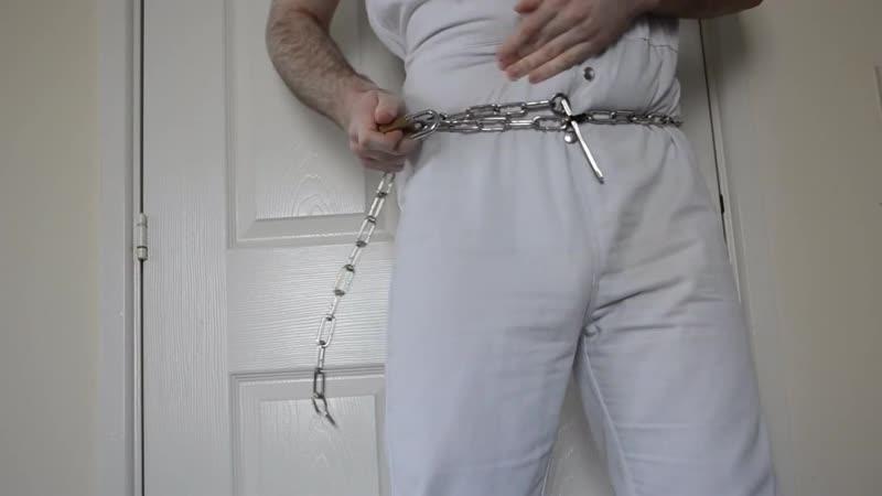 SELF BONDAGE HANDCUFFS SHACKLES IN PRISON UNIFORM