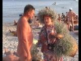 Коктебель пляж 2013(бабуля жжёт)