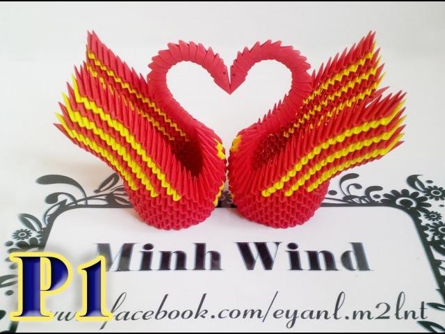 Origami 3d swan - Hướng dẫn làm đôi thiên nga origami 3D P1