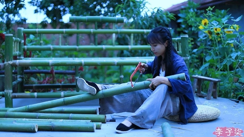 为生活添一抹淡雅绿意,用砍下的竹子制些物件儿 竹沙发