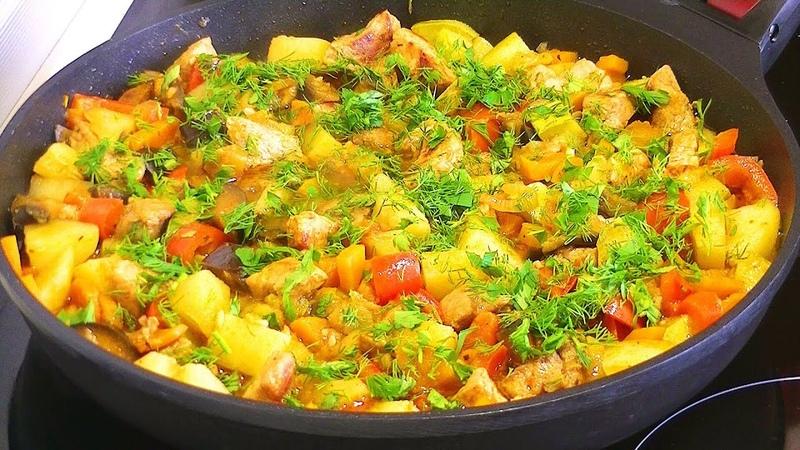 Яркое Овощное РАГУ - Кабачки, баклажаны, картофель и мясо.