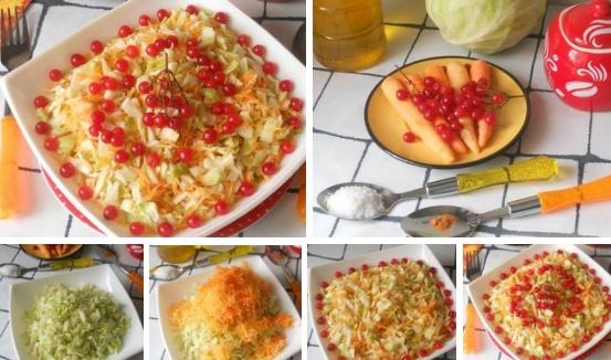 Капустный салат с ягодами калины