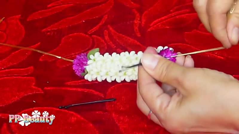 วิธีร้อยมาลัยดอกรัก และเกล้าผมเจ้าสาว How to make crown flower garland and easy wedding updo