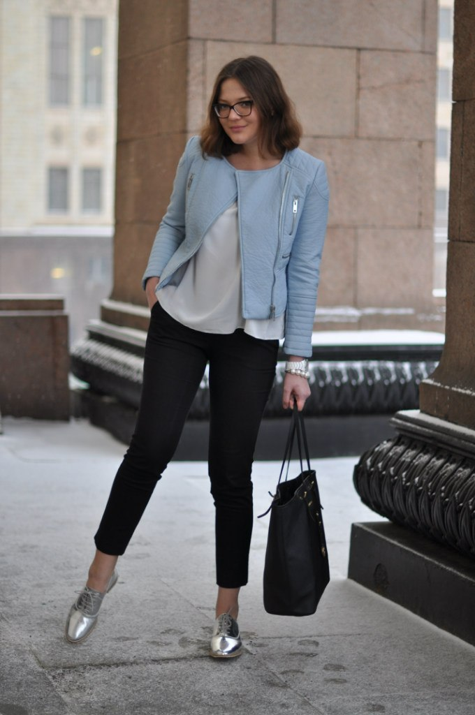 street look top russian fashion blogger blog zara leather blue jacket details zara metallic oxfords black michael kors white solk top Juliet Polilova Russian Doll