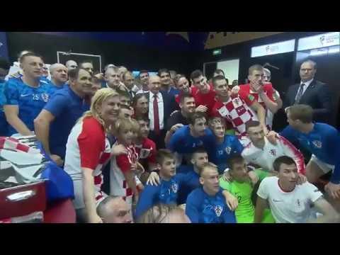 Французы с Макроном и Китарович празднуют в раздевалке победу и скандируют : Путин,хей,хей,хейй
