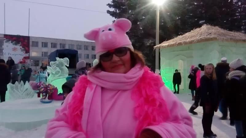 Троицк,ледовый городок Свинка Дина